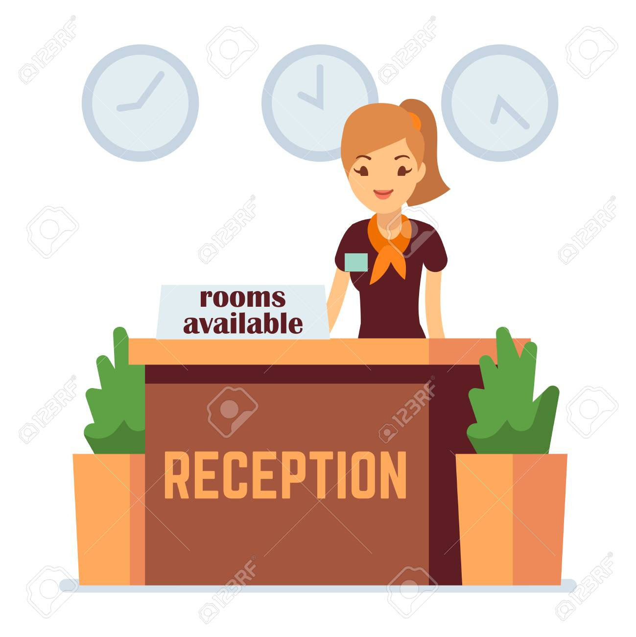 Hotel Or Hostel Reception With Cartoon Girl Rooms Available Royalty Free Cliparts Vectors And Stock Illustration Image 125339248