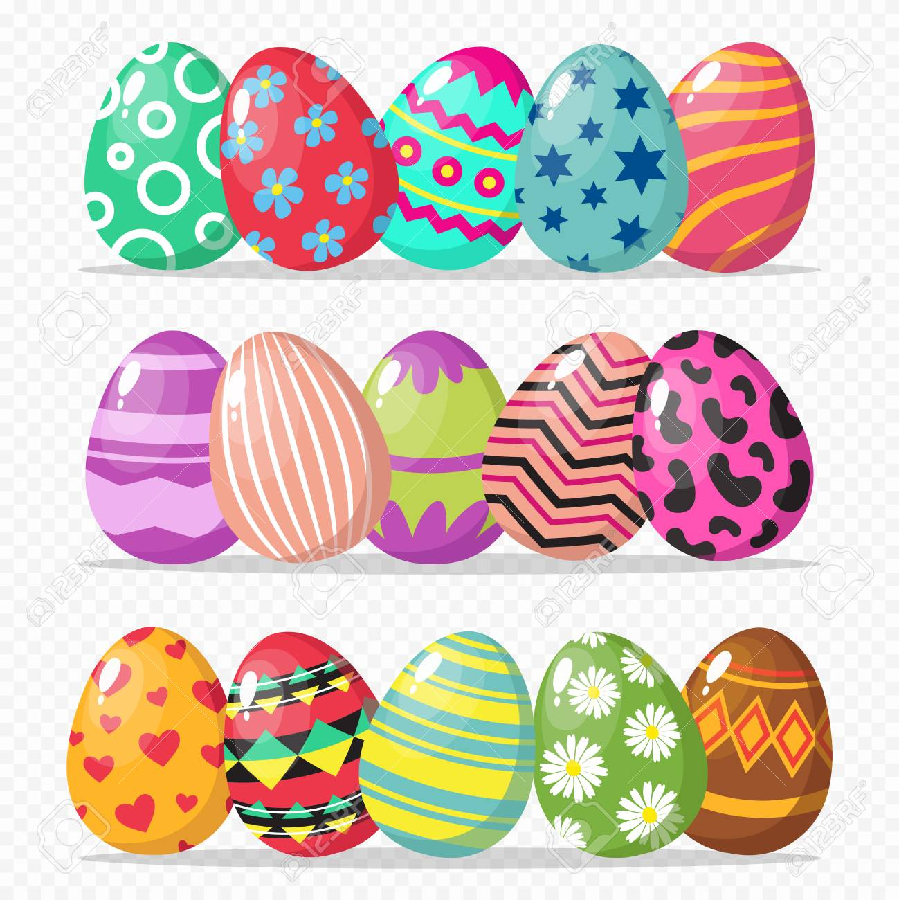 Coloring Easter Eggs Vector Isolated On Transparent Background Royalty Free Cliparts Vectors And Stock Illustration Image 117140741