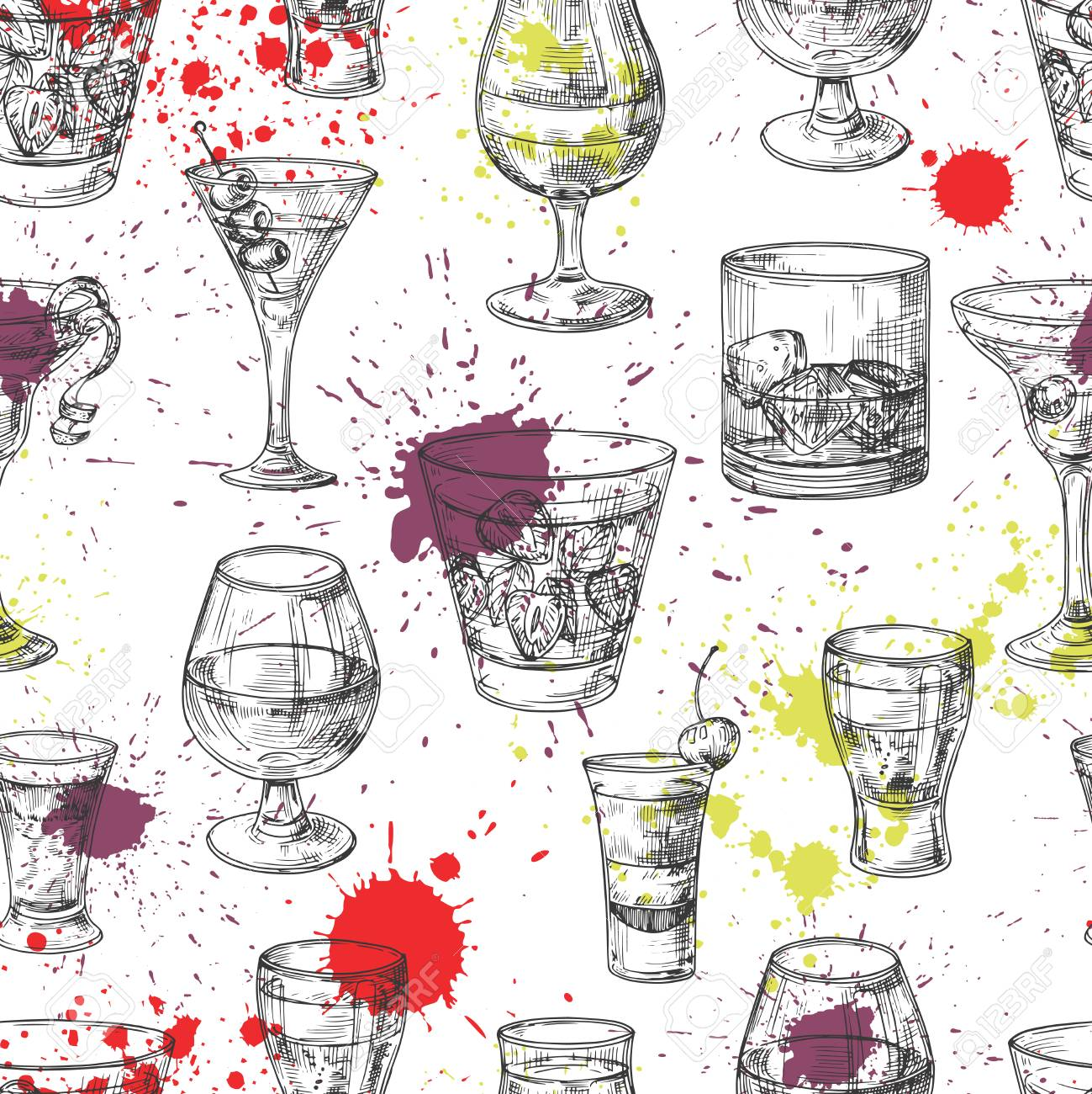 Cocktail party vector seamless pattern with hand drawn drinks and splashes. Illustration of alcohol glass drink, cocktail party - 124771053