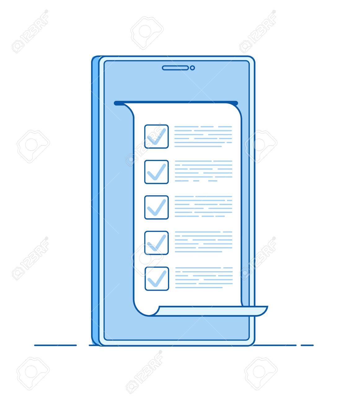 Online test  Computer quiz form on smartphone  Online to do list