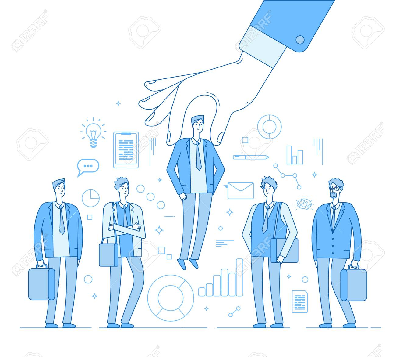 Choice employer. Hand choosing man from selected people group. Human recruitment hunting, selecting choicing candidate vector concept. Illustration of recruitment worker, resource human - 120617100