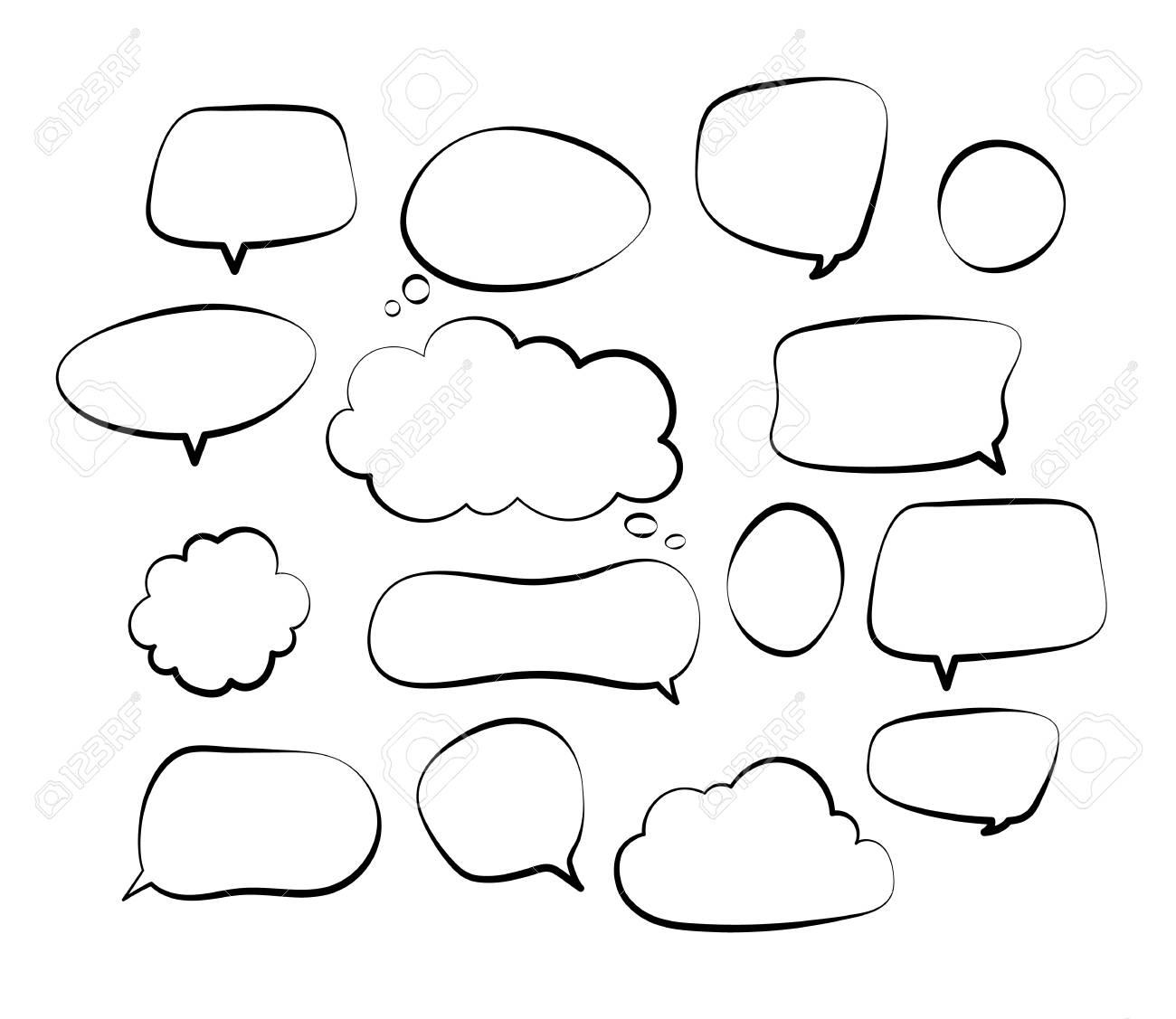 Outline speech bubbles. Doodle speech balloon sketch hand drawn scribble bubble talk cloud comic line retro shouting shapes vector set. Illustration of outline bubble speech for communication - 120906524