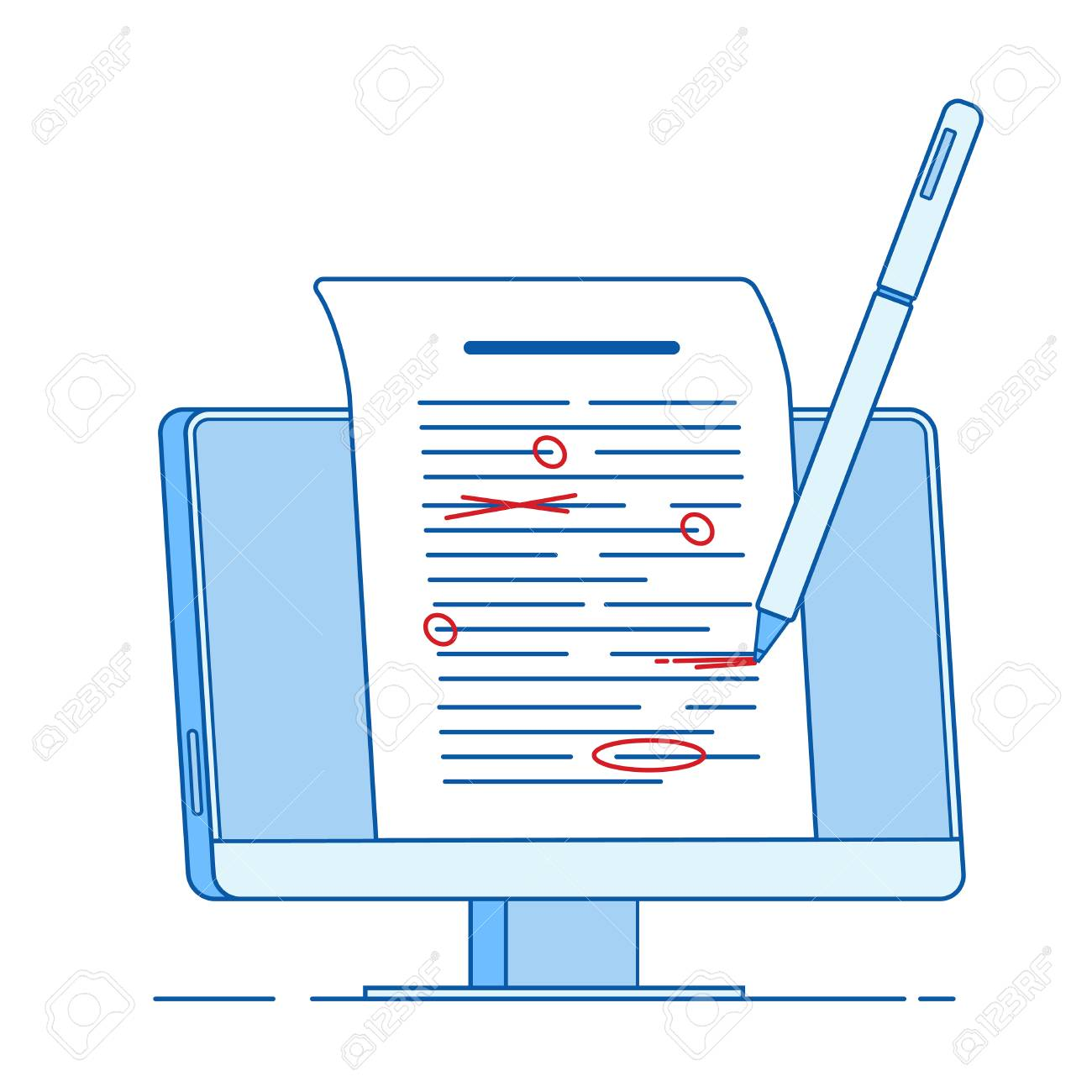 Write edit text concept. Writing editing documents, correct proofreading text essay services vector line concept. Illustration of grammar proofread, edit document - 121462632