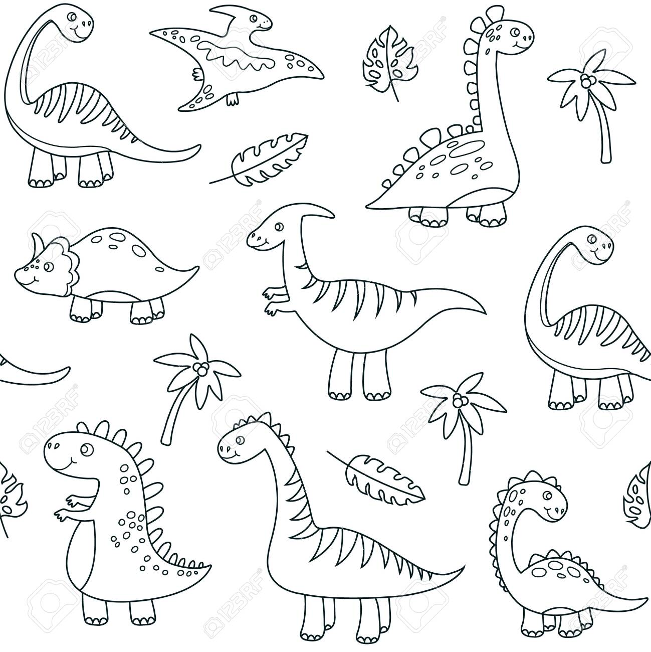 Dinosaur Outline Seamless Pattern Cute Baby Dino Funny Brontosaurus