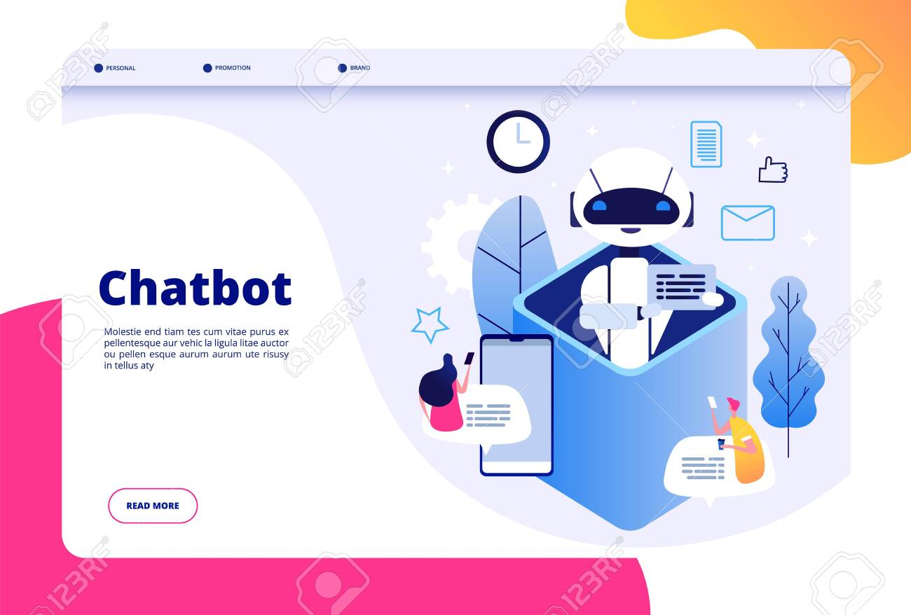 Chatbot concept  Chat with android woman man talking with mobile