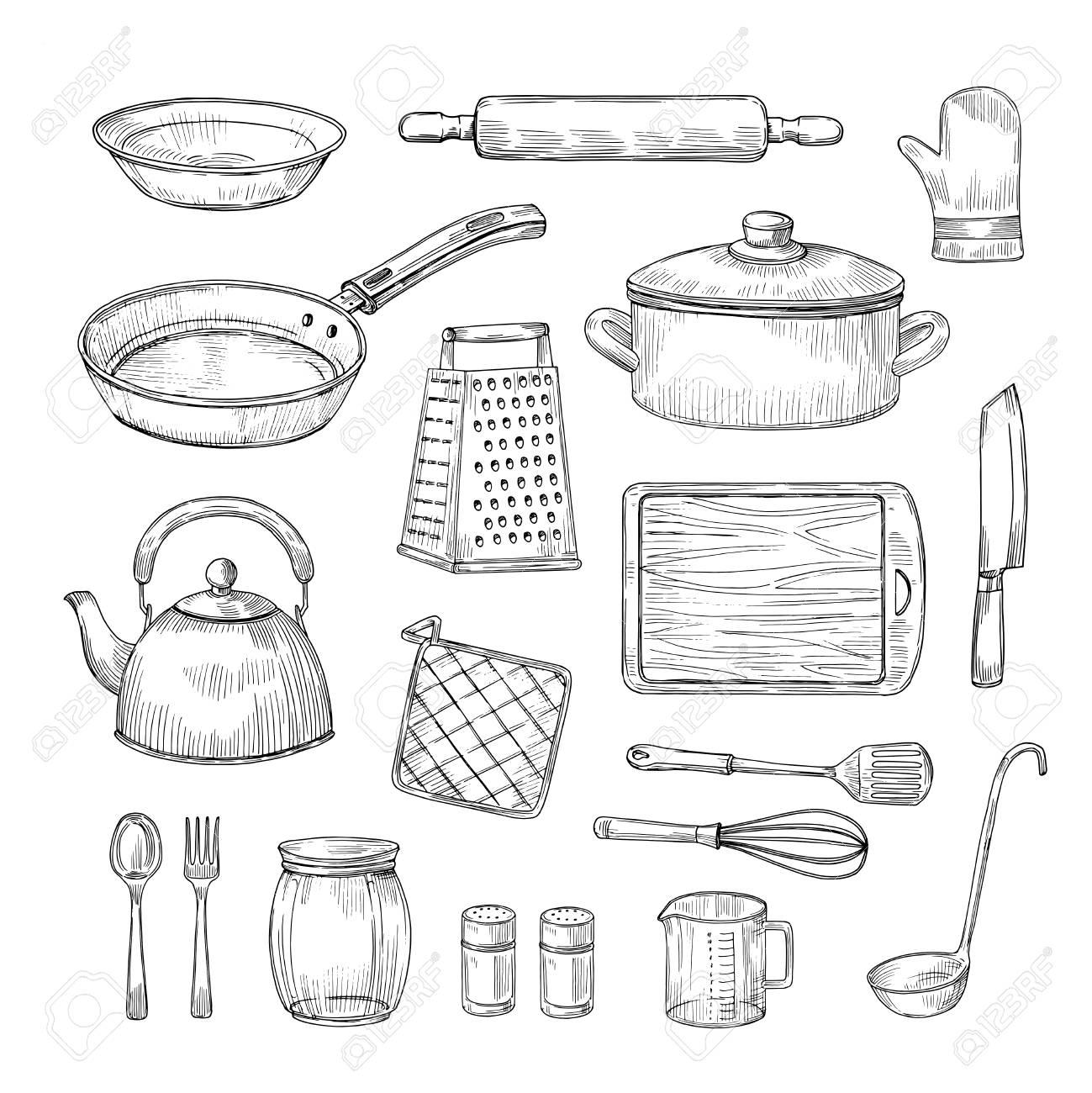 Sketch kitchen tools. Cooking utensils hand drawn kitchenware...