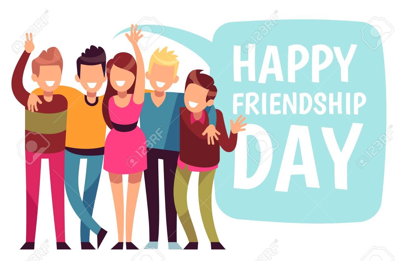 Happy friendship day  Friend group hug in love  Friendly teens