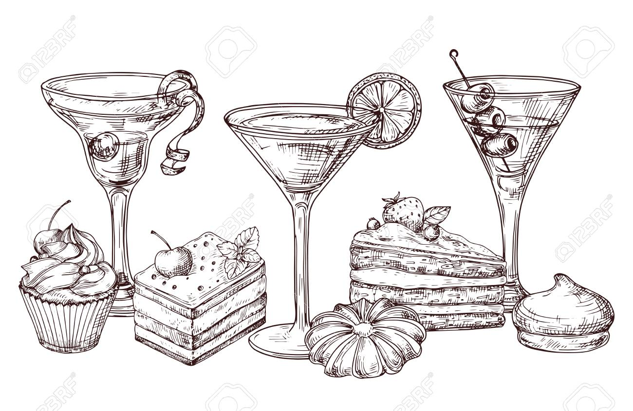 Hand drawn desserts and soft cocktails vector isolated on white background. Illustration of cocktail drink and cake desserts drawing - 128173543
