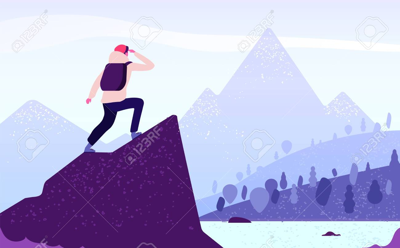 Man in mountain adventure. Climber standing with backpack on rock looks to mountain landscape. Tourism nature journey vector concept. Adventure mountain, mountaineering tourism, trekking illustration - 128173583