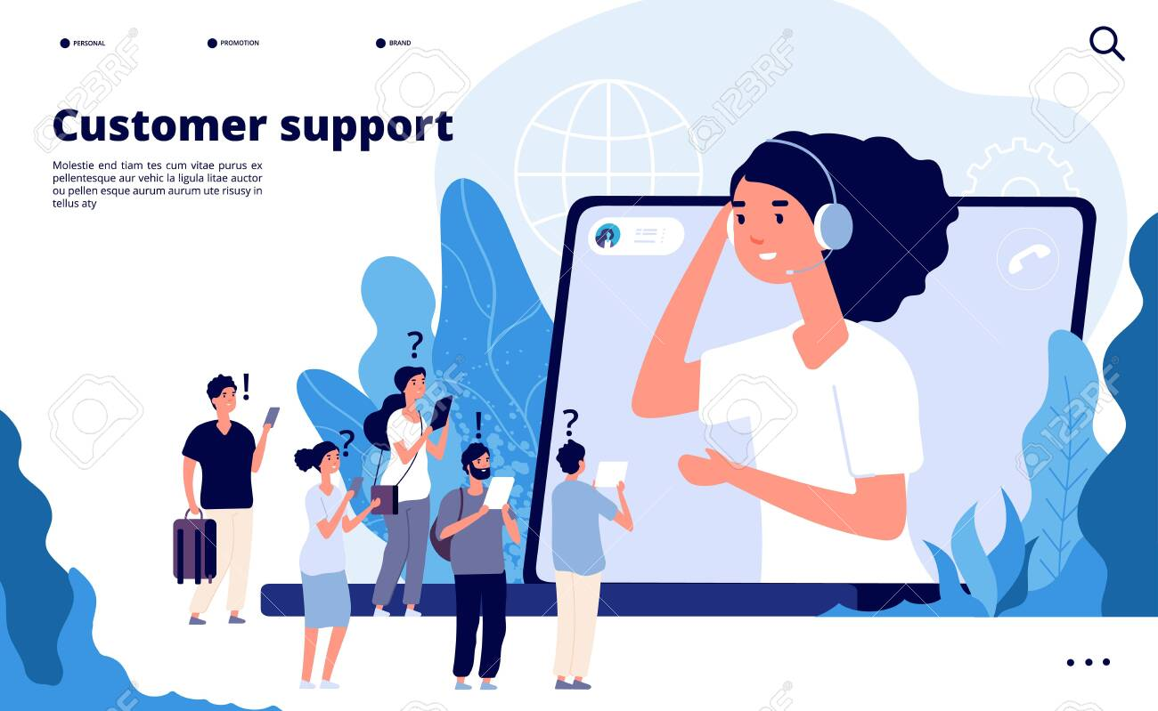 Customer support concept. Professionals help client with smartphone. Telemarketing communications vector landing page. Illustration of professional operator support, communication help - 128173616