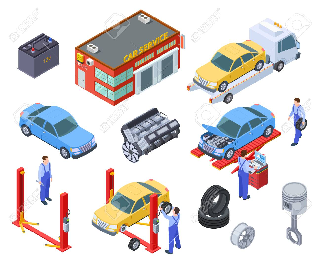 Car service isometric. People repair cars with auto industrial equipment. Technicians replace vehicle part, wheels. Workshop 3d vector. Illustration of repair car industry, automobile service - 128173645