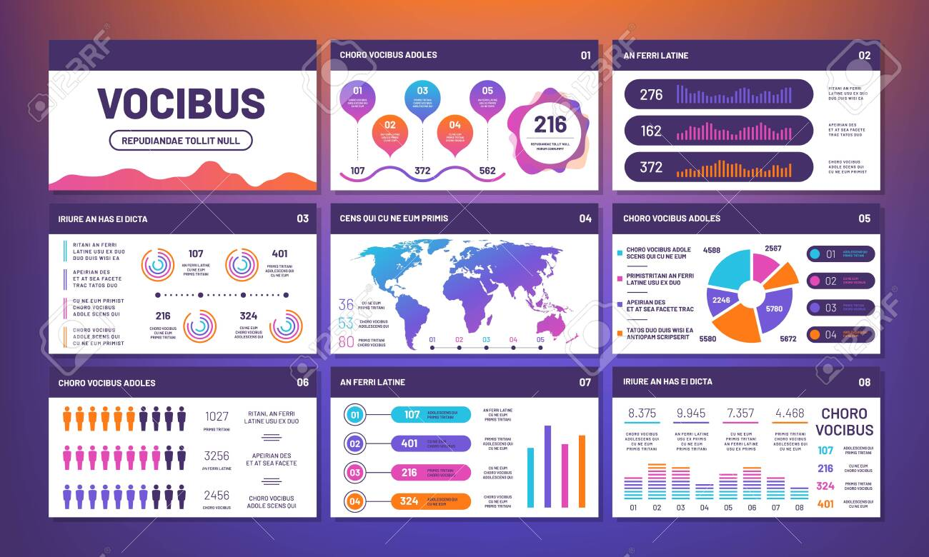 Modern infographics presentation template vector. Info charts, pies, comparative graphs. Statistic and infochart rate, website infographic illustration - 128173845