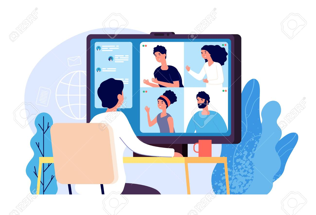 Video conference. People group on computer screen taking with colleague. Video conferencing and online communication vector concept. Illustration of communication screen conference, videoconferencing - 128173861