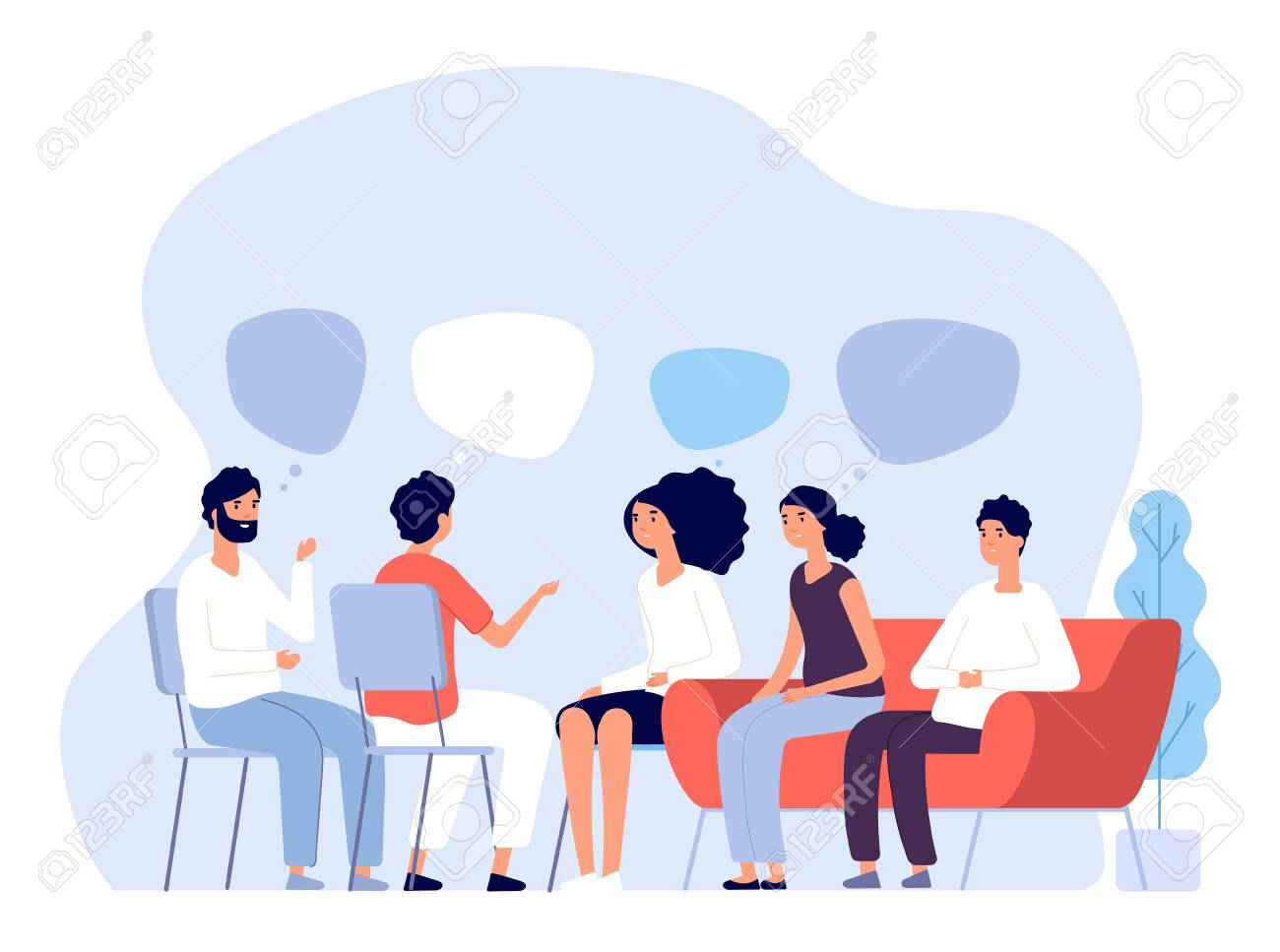 Addiction treatment concept. Group therapy, people counseling with psychologist, persons in psychotherapist sessions. Vector image. Illustration psychologist counseling group patient - 128173962
