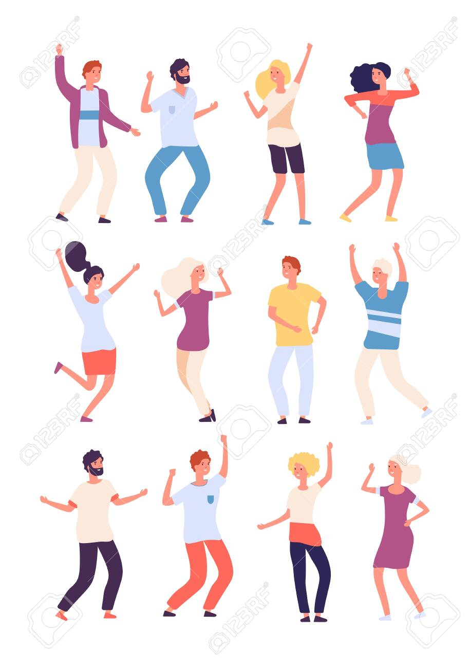 Cartoon Dancing People Happy Persons Dance Adults Woman And Royalty Free Cliparts Vectors And Stock Illustration Image 129401037