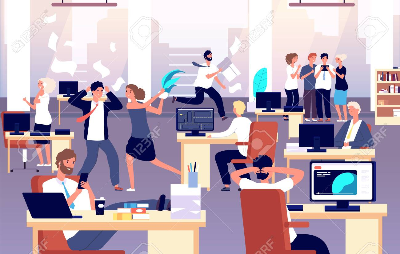 Chaos in workplace. Sleepy lazy, unorganized employees in office. Bad organization control, business corporate problems vector concept. Work office day, relax and running routine illustration - 130722932