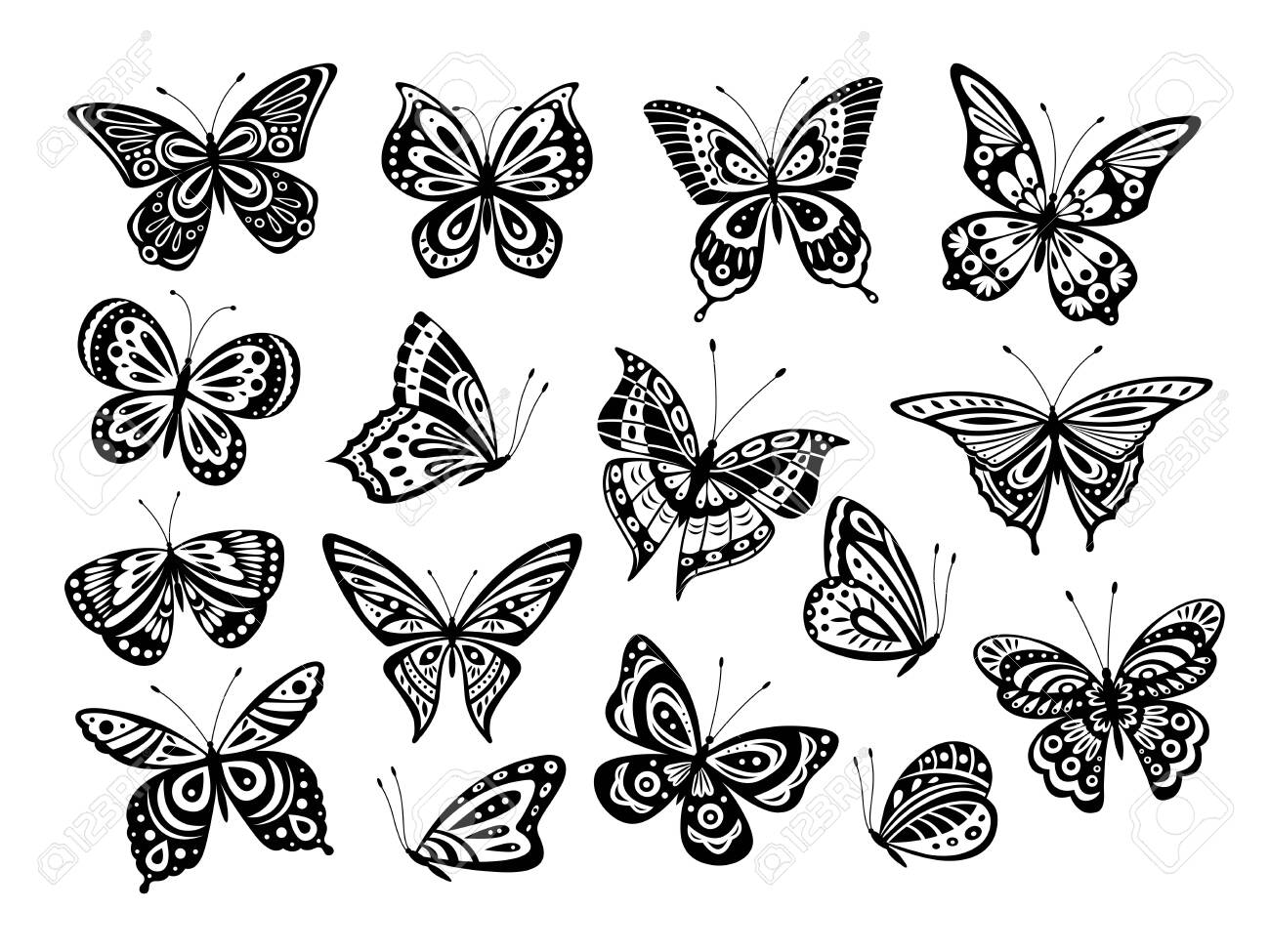 Black Butterflies Drawing Butterfly Silhouette Nature Elements Royalty Free Cliparts Vectors And Stock Illustration Image 139384471