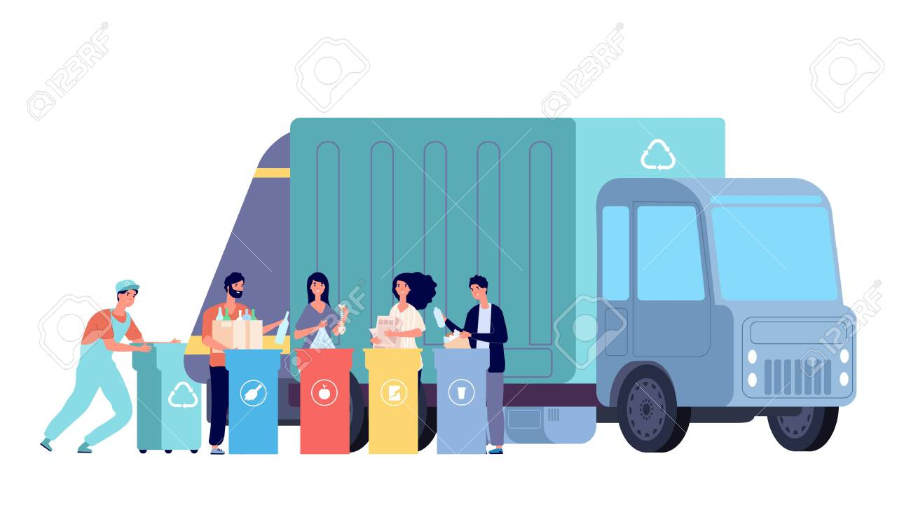 Garbage truck. Refuse recycling, rubbish worker and disposal containers. People sorting and throw waste. Vector recycle dumpster concept. Illustration container recycle, rubbish and waste collect - 141281718