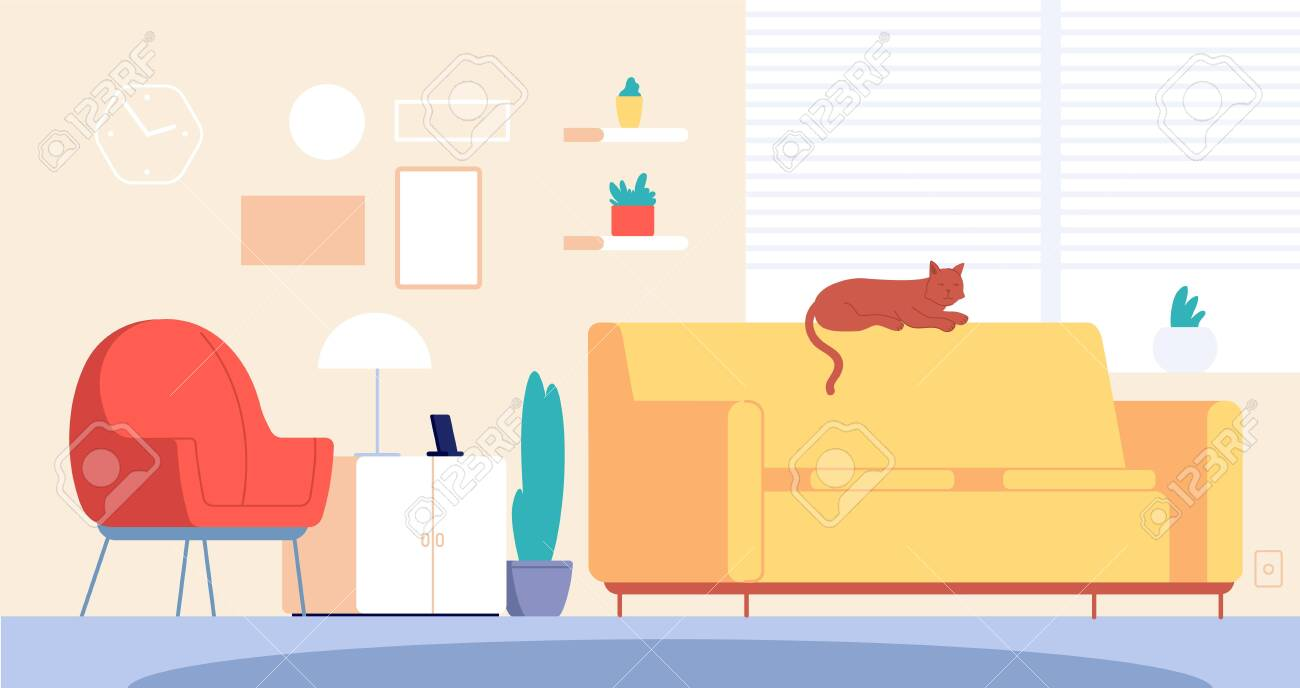 Cat In Room Living Home Decor Stylish Furniture Modern Apartment Royalty Free Cliparts Vectors And Stock Illustration Image 141282406