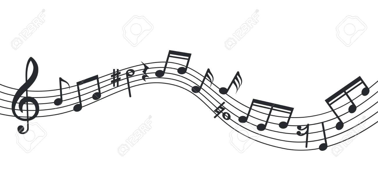 Music note wave. Notes background, musical poster. Isolated abstract stave, treble clef and sound icons. Vector soundtrack illustration. Music note curve, musician line decoration symphony - 142860312