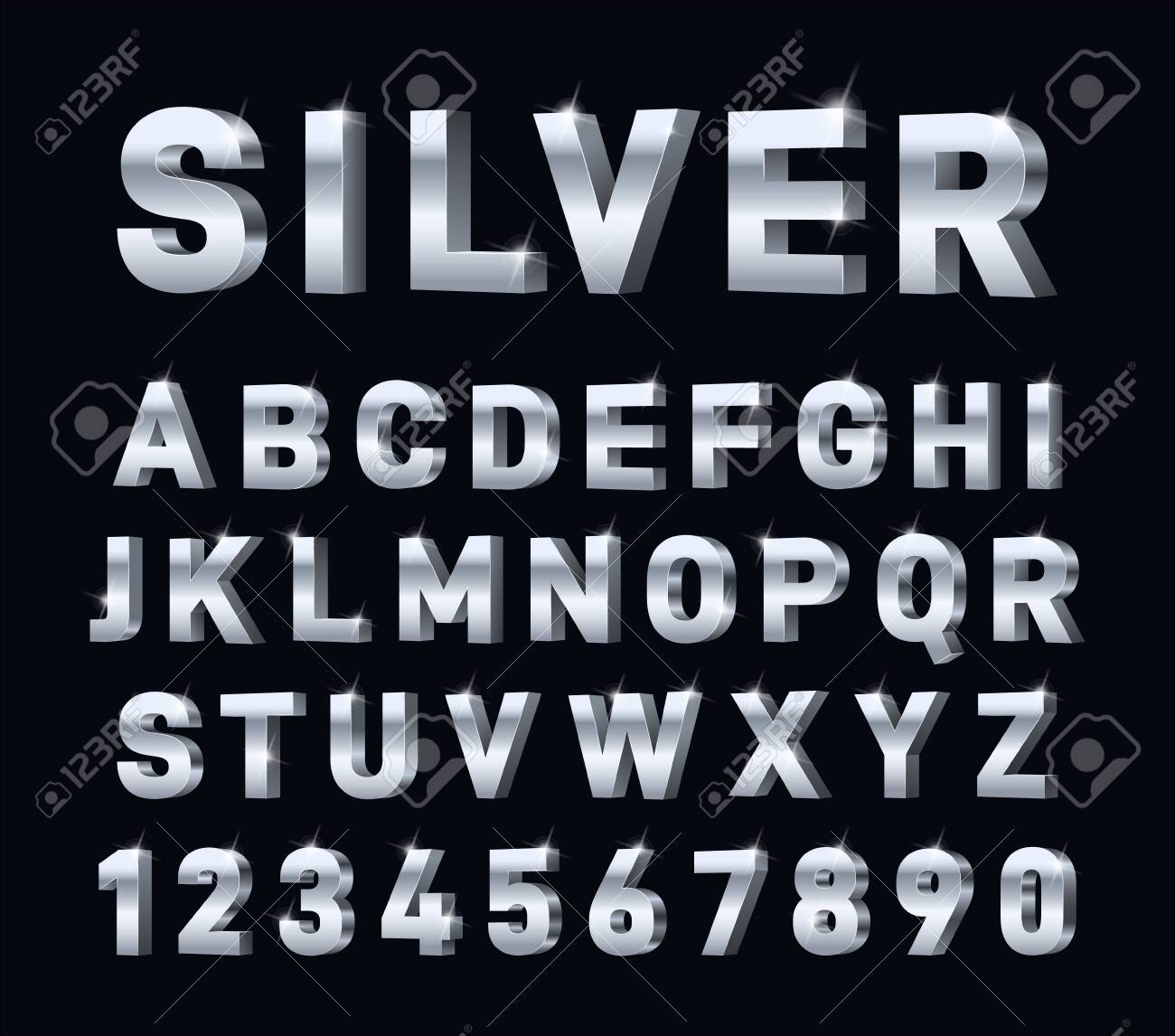 Silver font. 3d steel chrome alphabet. Metal letters and numbers, metallic platinum typography decorations. Modern glossy vector symbols. Illustration aluminum character, steel metal platinum typeface - 143409821