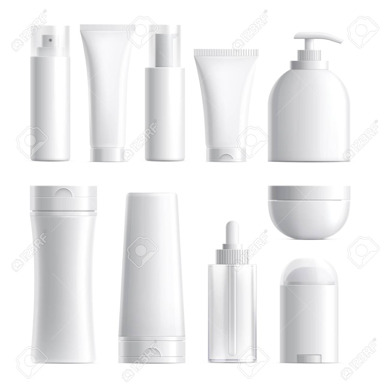 Cosmetics package. Isolated bottle mockup. Realistic blank beauty products plastic glass container. 3d skin care tube cream jar vector set. Cosmetic cream, tube product mockup, container illustration - 148711301
