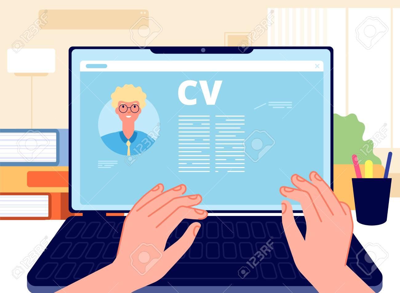 Online CV. Young man writing job application on laptop. HR concept, searching job in internet. Career start, hands working on computer vector illustration. Internet online, hr employee, write cv - 155203867