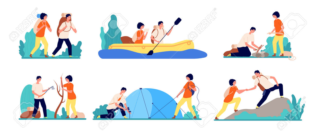 Friends travel adventures. Hiking tourist, man boating on river travelling. Adults journey camping, peak mountain utter vector set. Illustration man and woman tourism activity, adventure camping - 162416794