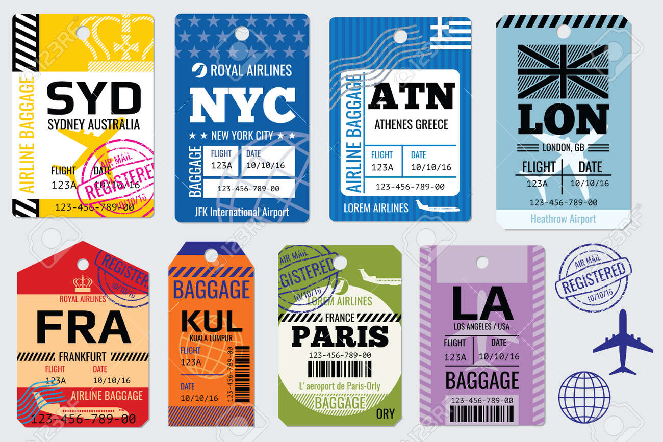 Retro baggage tags and travel vector stock - 165745862