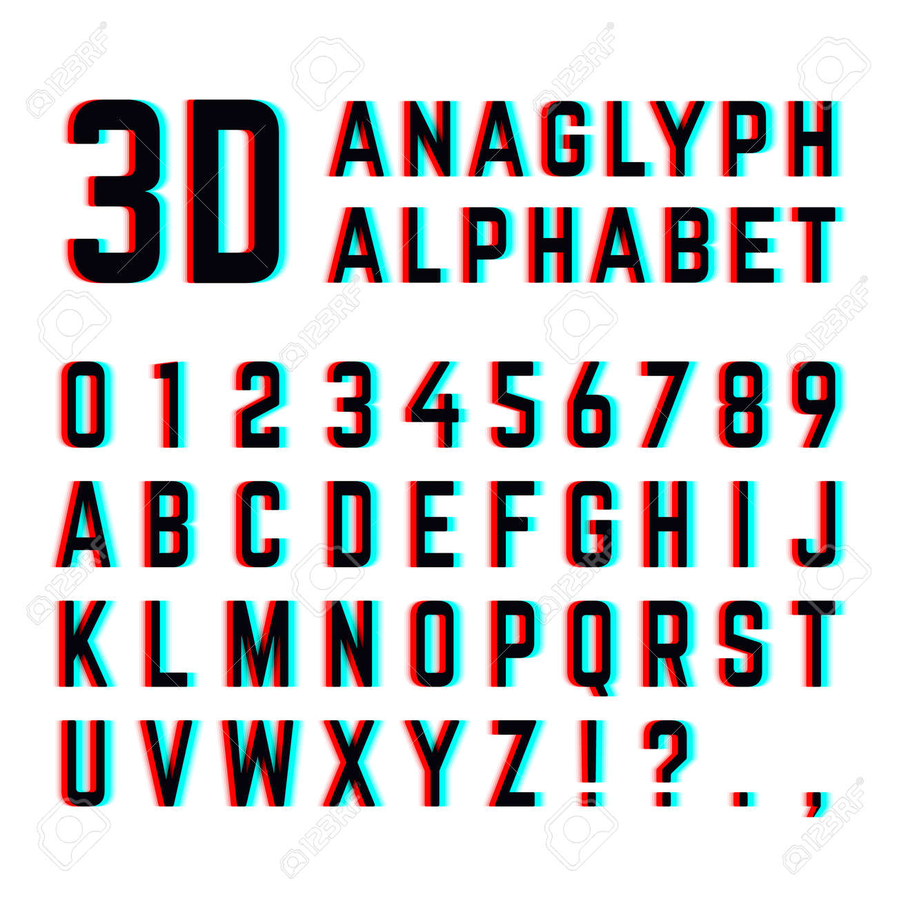 Tv distortion 3D effect stereoscopic, anaglyph alphabet and numbers. English alphabet with distortion, illustration of design alphabet with diffuse effect - 165866761