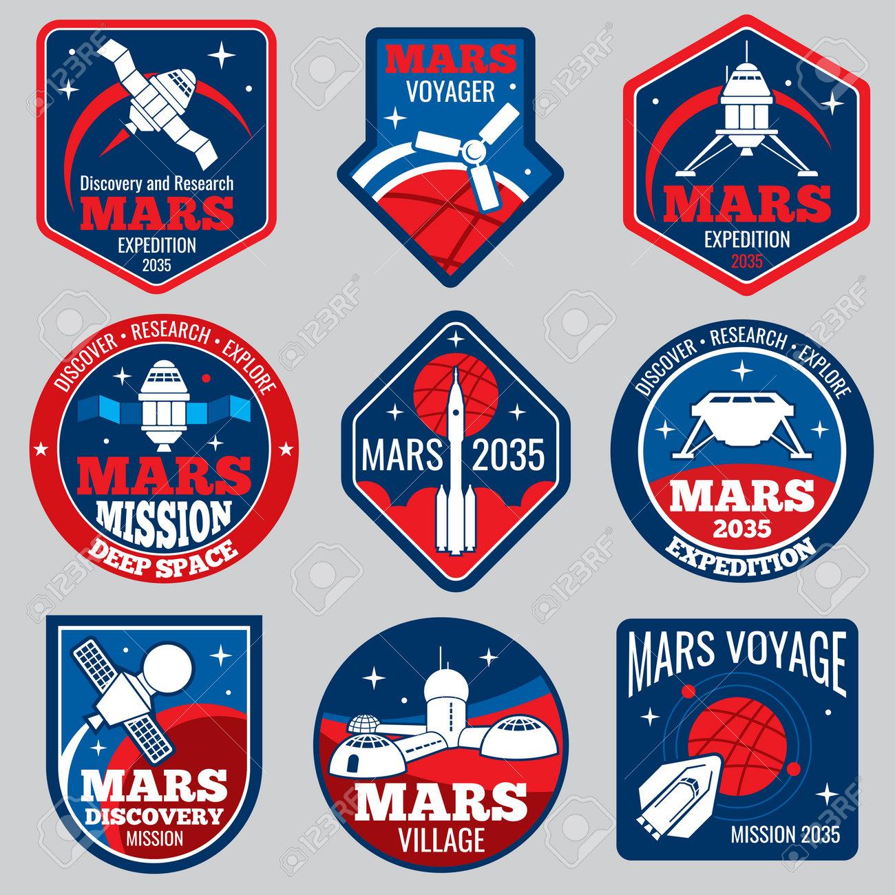 Mars colonization vector retro space logos and labels set. Exploration mars planet logo, emblem travel to mars illustration - 165866772