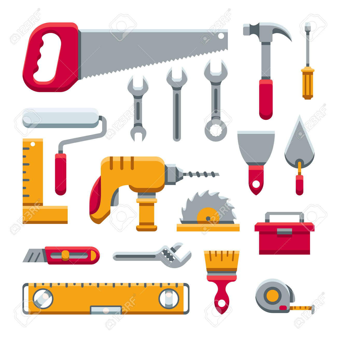 Hardware industrial tools kit flat vector icons. Set of tools and work equipment illustration - 165867075