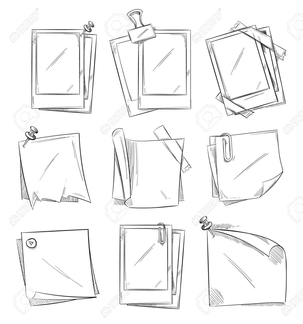 Blank vintage photo frames and notepaper doodle sketch vector collection. - 165867083