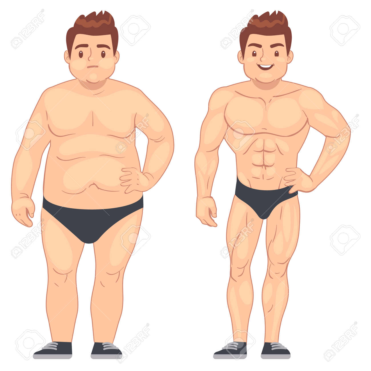 Cartoon muscular and fat man, guy before and after sports. weight loss and diet vector lifestyle concept. Body male muscle and overweight body illustration - 165867107