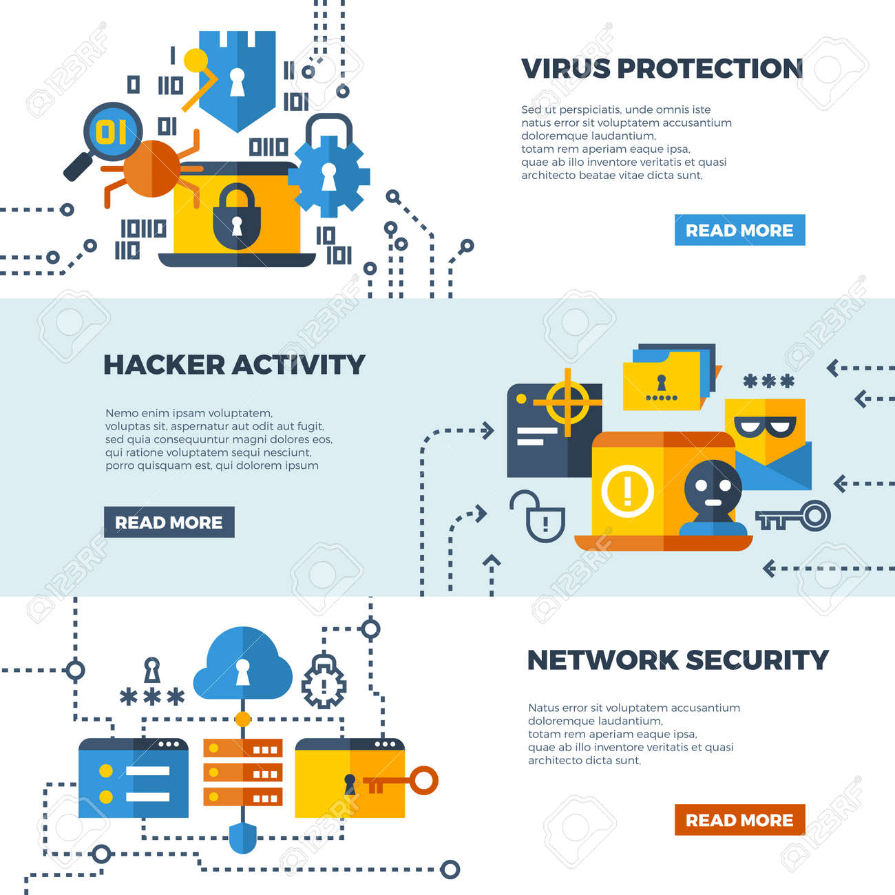 Online communication security, computer protection vector web banners set. Protect computer firewall, protect access to network illustration - 165867263