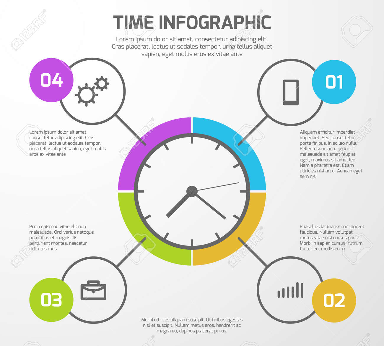 Presentation vector background with time management infographic, clock and options. Infographic for presentation business illustration - 165867616