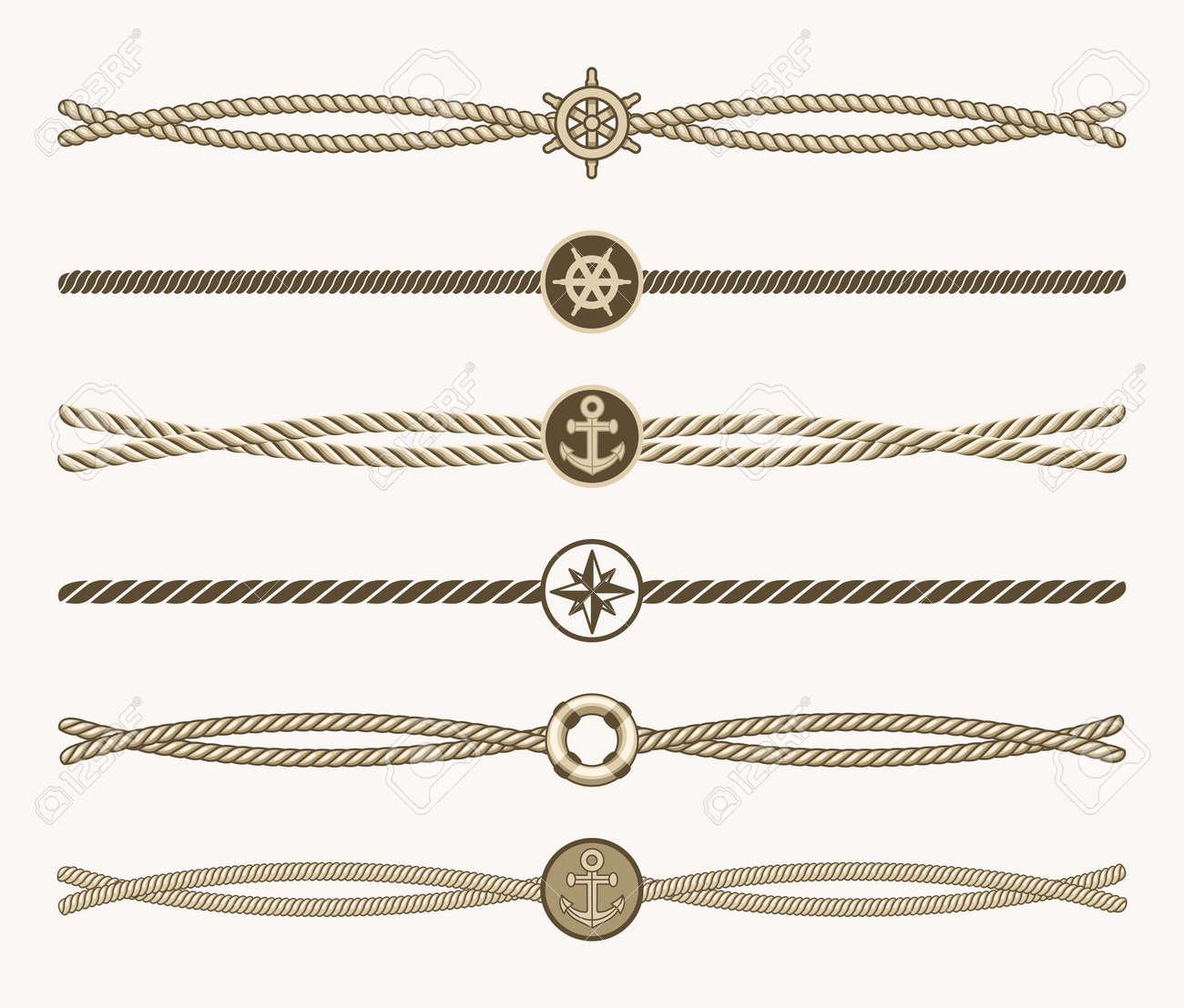 Nautical vintage rope vector dividers. Design of border frame illustration - 165867476