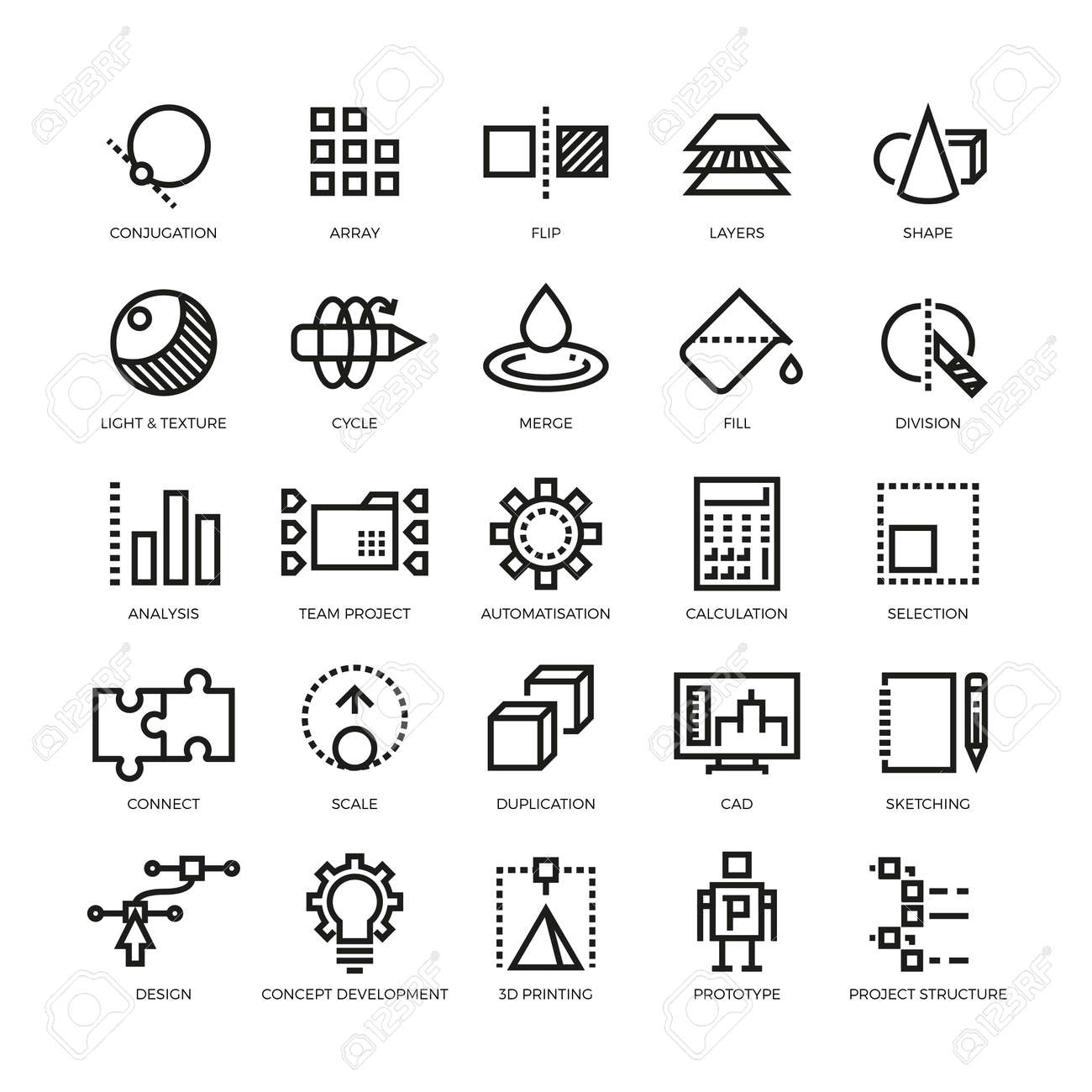 Cad designer, future innovation, database, architecture, 3d model printing vector line icons. Conjugation and array, flip and layer illustration - 165867126