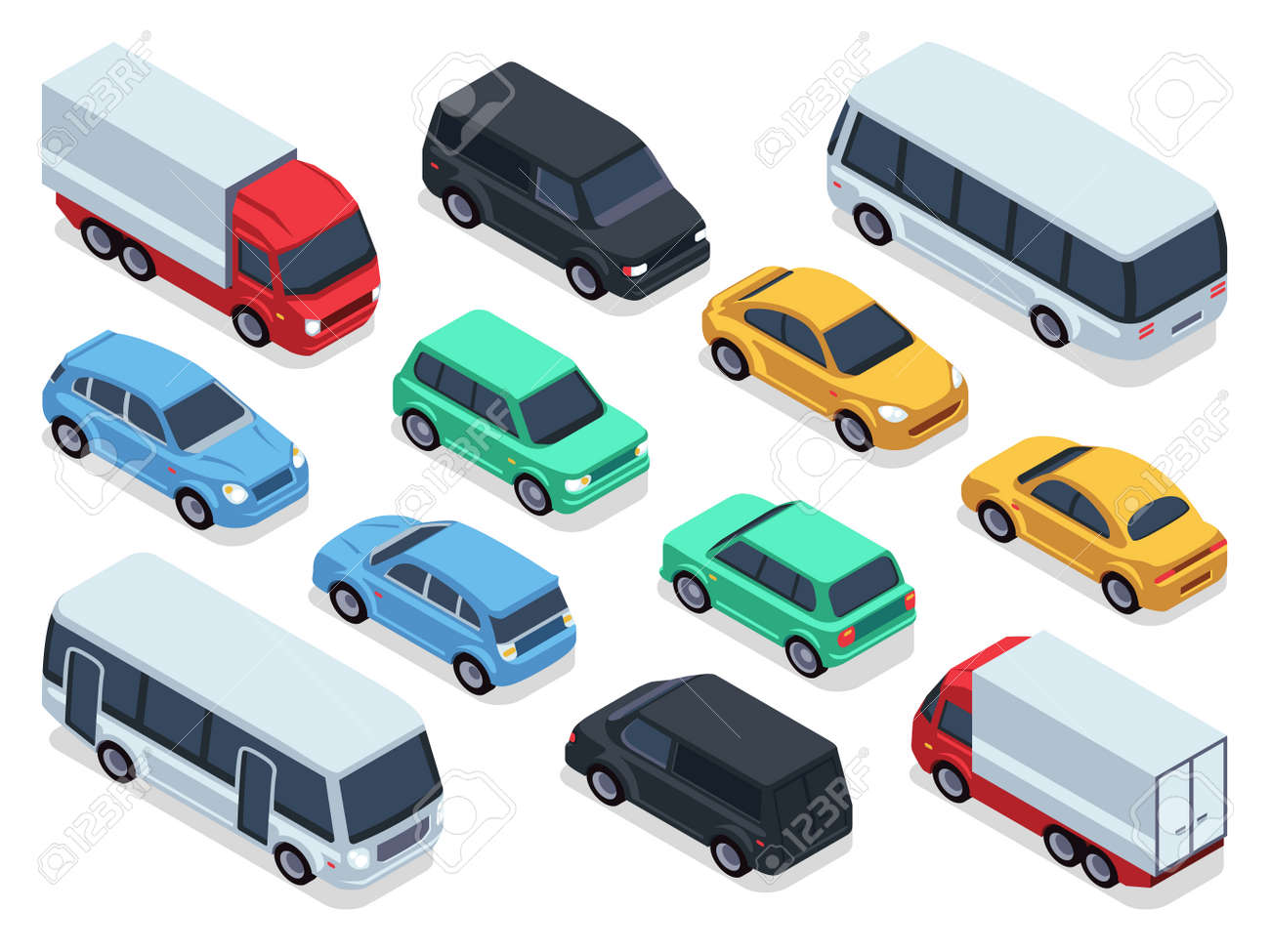 Isometric vehicles and cars for 3d city traffic map. Vector urban transport set. Transport car isometric, auto car 3d style illustration - 165866932