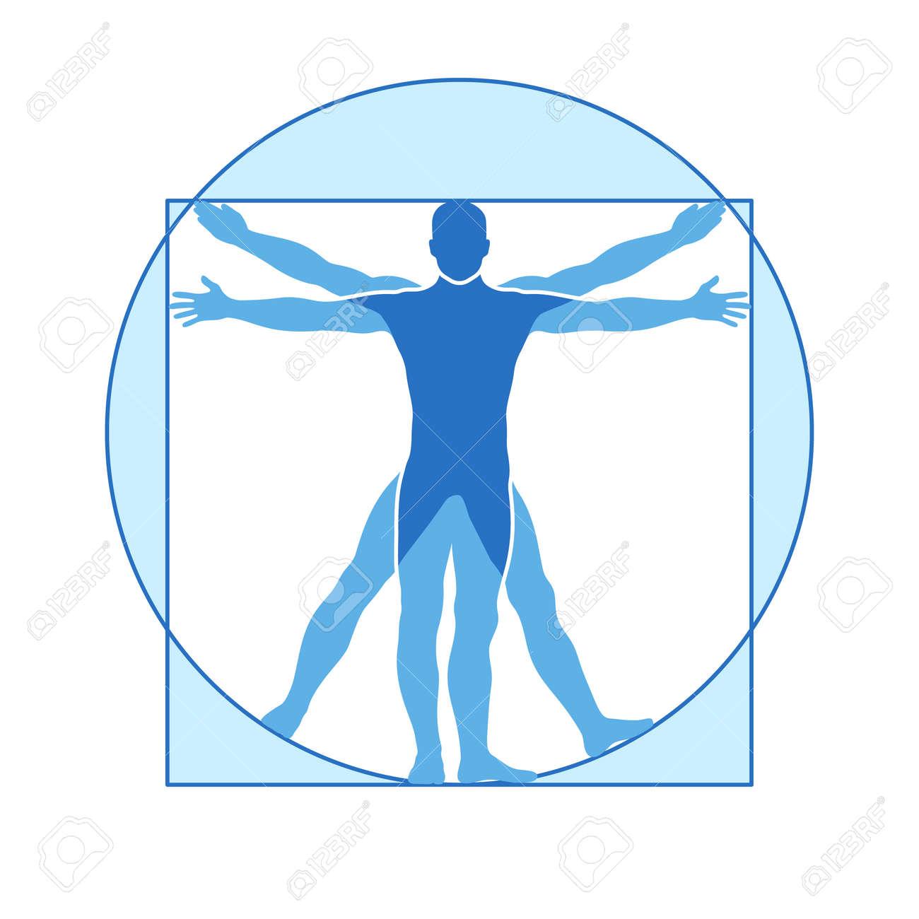 Human body vector icon similar vitruvian man. Like Leonardo da Vinci image vitruvian man, classic proportion form man illustration - 165950047