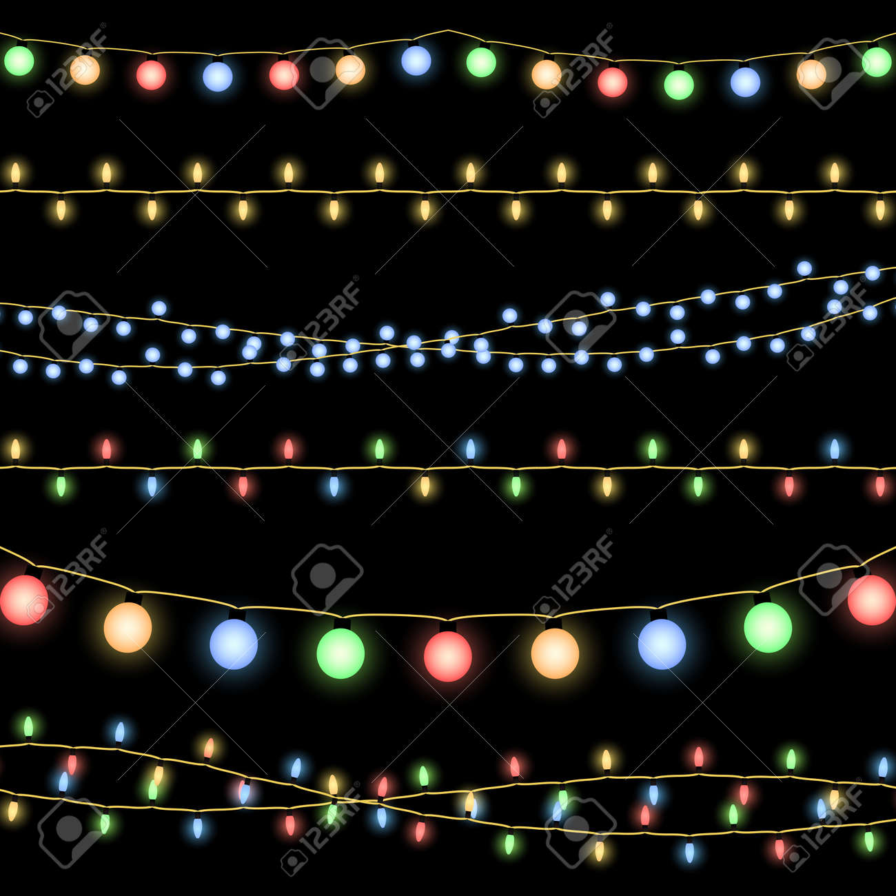 Glowing Christmas garlands vector background. Illustration of decorative design holiday - 165950086