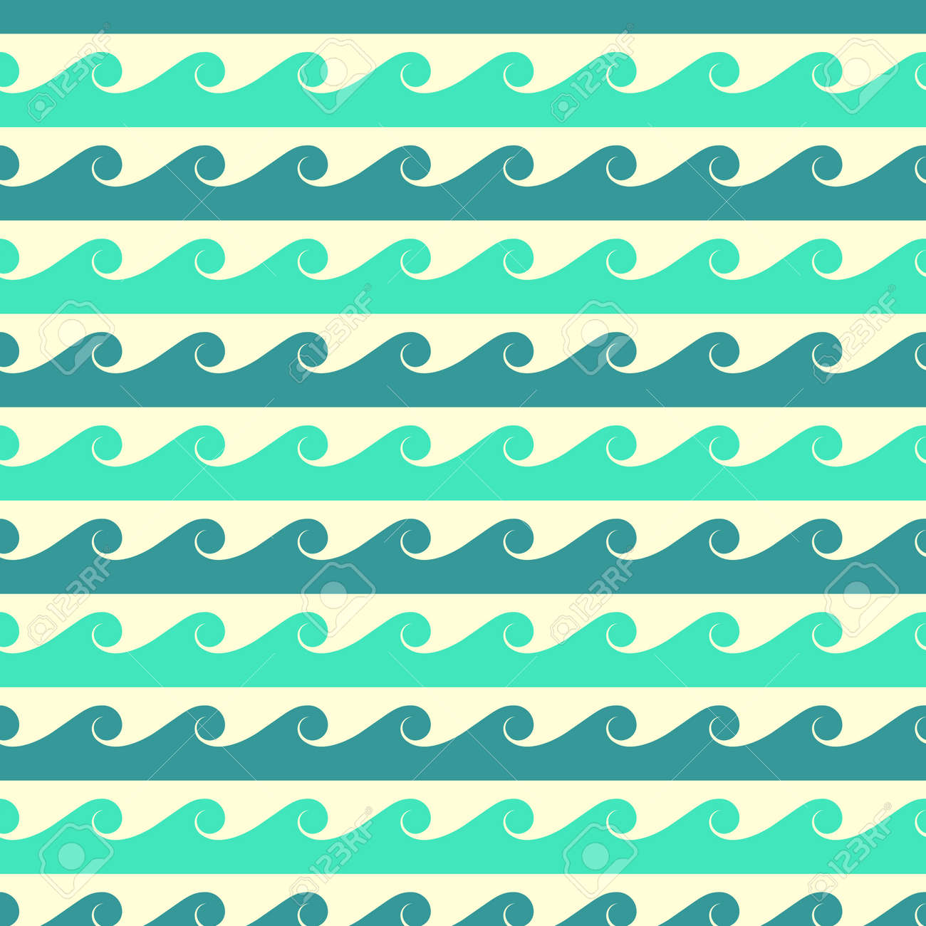 Blue and green vector waves seamless pattern. Background line water ocean or sea illustration - 165950364