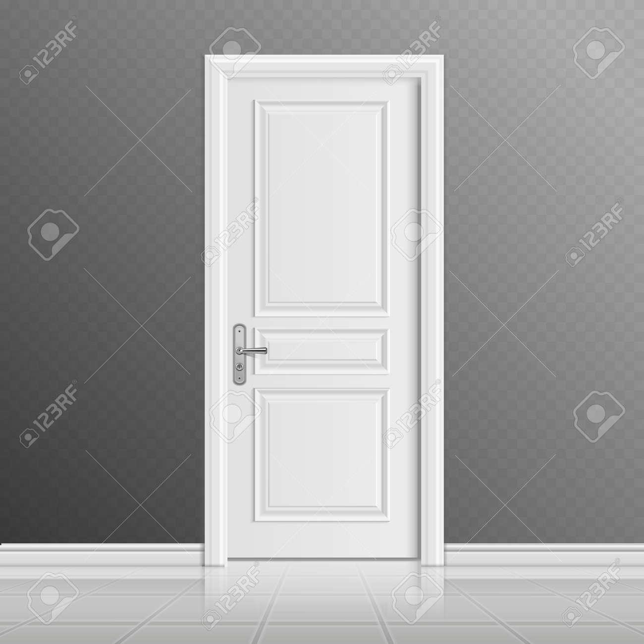 Closed white entrance door vector illustration. Doorway entrance in house, interior door illustration - 165951238