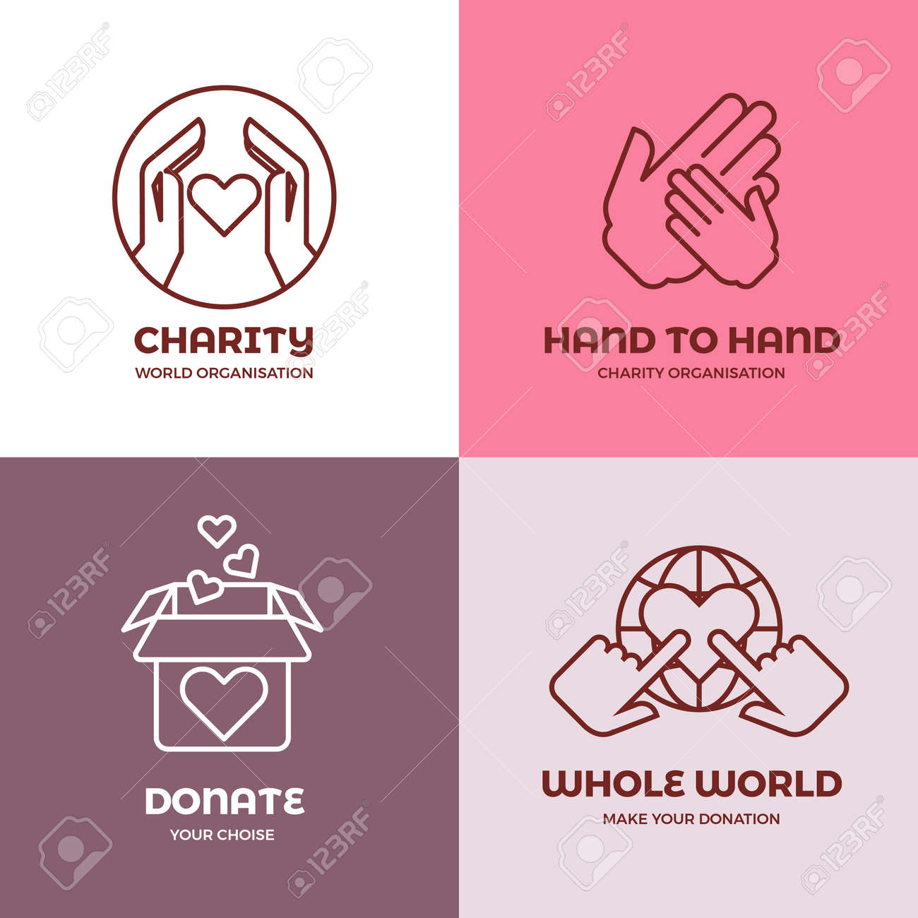 Nonprofit and volunteer organization, charity, philanthropy concept vector logo set. Concept of charity, illustration of emblems charity world organization - 165951707