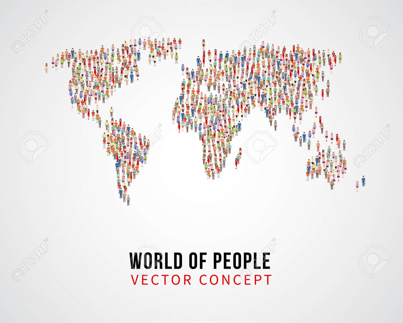 People global connection, earth population on world map vector concept. Global population on planet, population of people on form world map illustration - 165951874