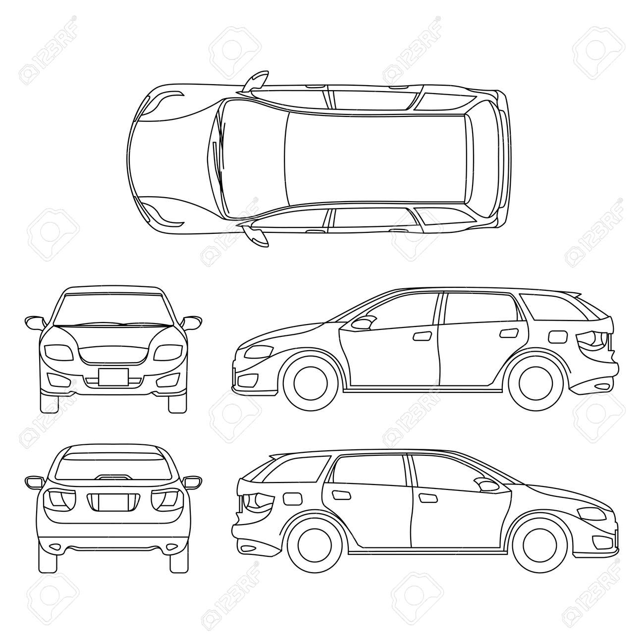 Line drawing of car white vehicle, vector computer art. Model of car, sketchy graphic transport car illustration - 165951907