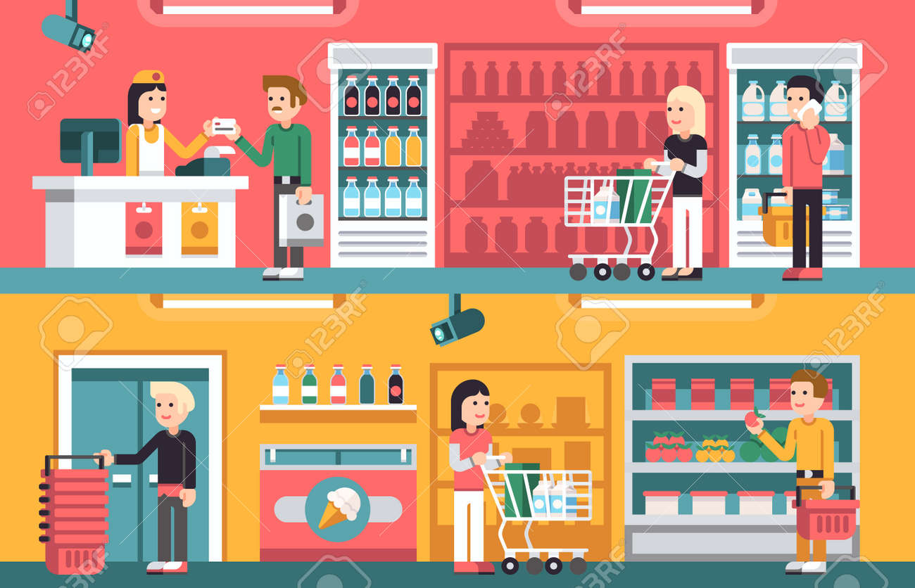 Shopping people and counter in super market interior, retail vector concepts set. Supermarket store indoor, illustration of interior supermarket with seller and cashier - 165951178