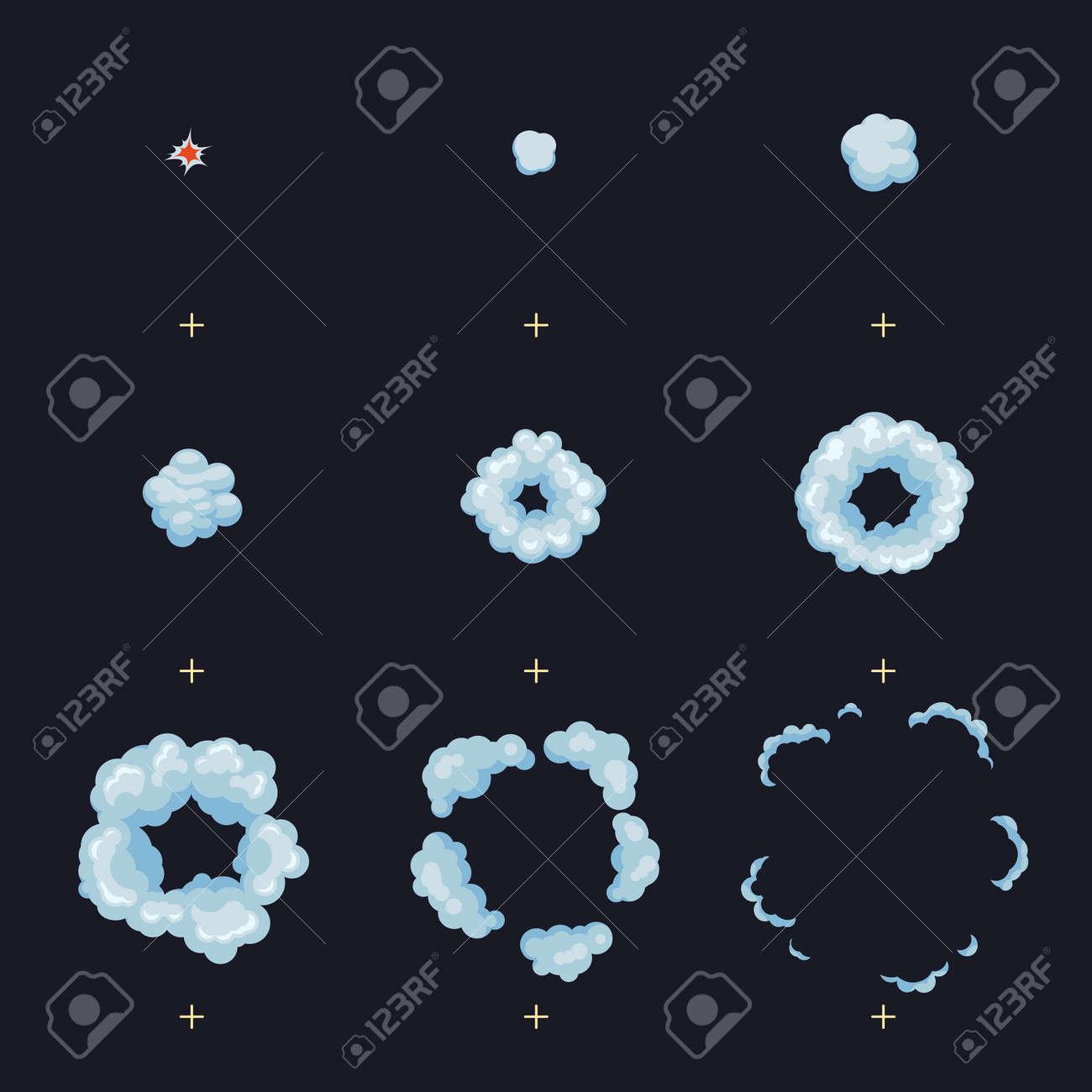 Puff, boom, burst, explosion, explode animation frames vector effect. Boom explode animation, illustration of shot hit animation - 165951185