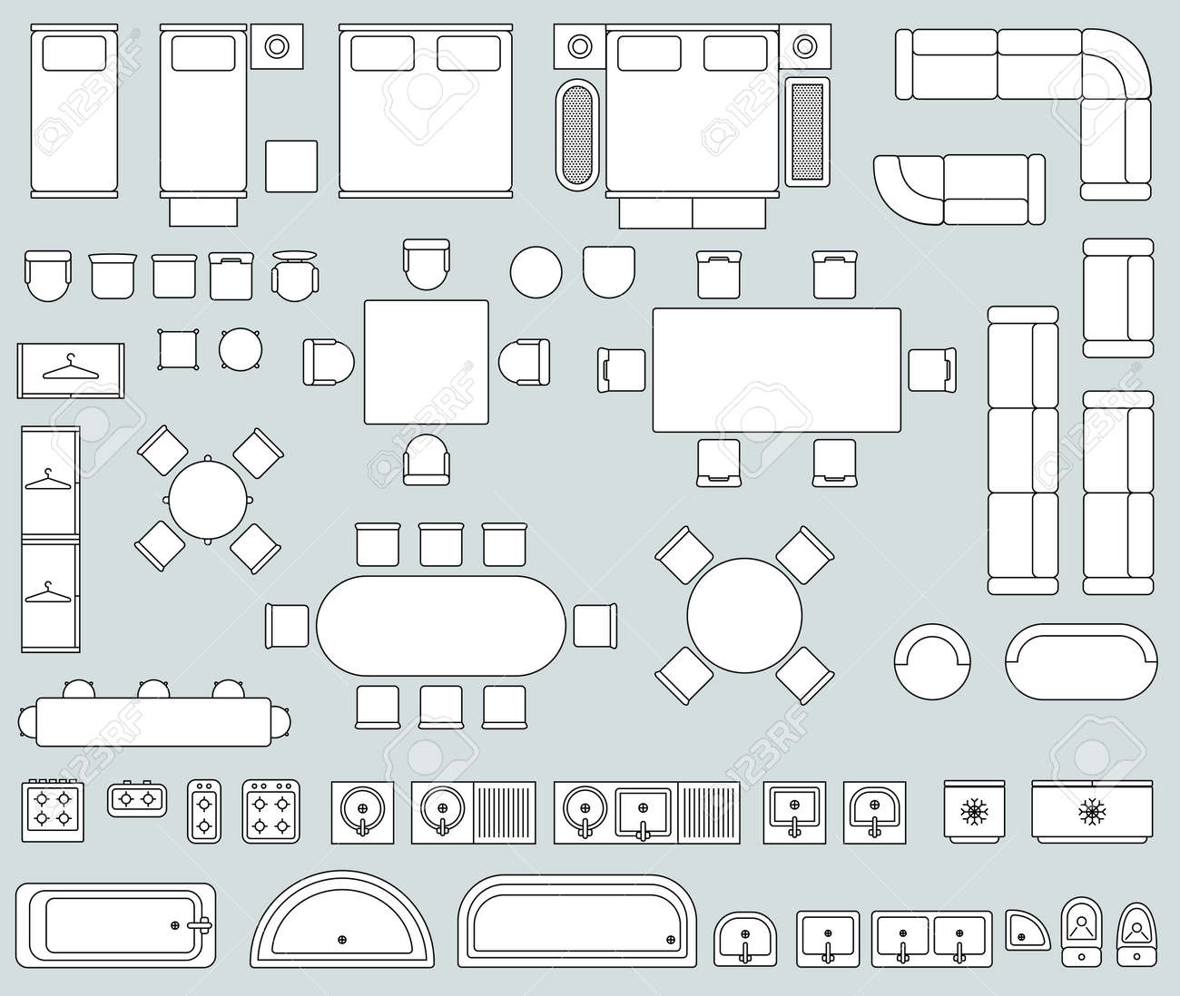 Top view interior with line furniture icons vector. Set of furniture for office or house, illustration of sofa armchair and bed furniture - 165950635
