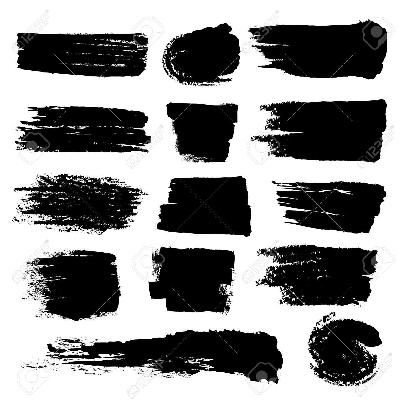 Black paint brush strokes, dirty inked grunge vector art brushes. Creative sketch brush stroke, illustration of brush stain line - 165950466